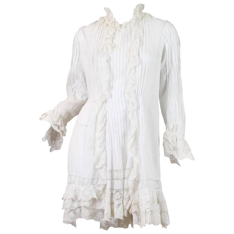 1870-80 Hand Pintucked Cotton and Lace Jacket