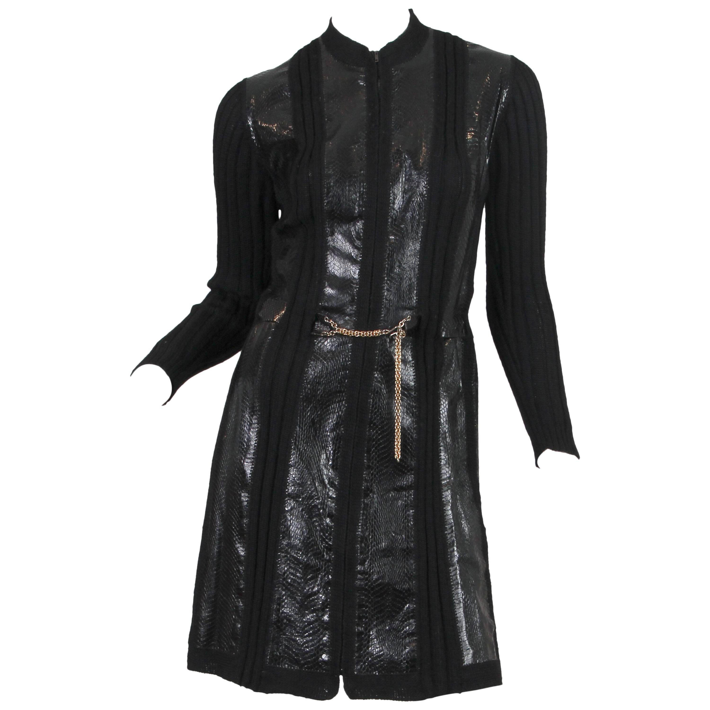 1990S ALAIA Black Wool Knit & Snakeskin Coat