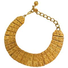 Celine Rare Vintage Arc de Triomphe Gold Chain Link Collar Statement Necklace