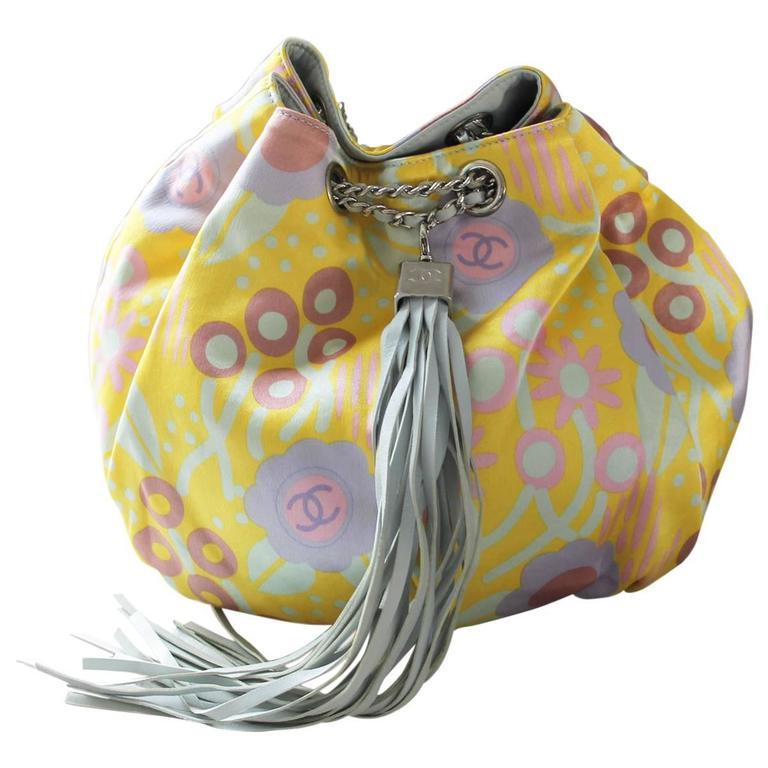 Chanel Limited Edition Pastel Multicolor Satin Drawstring Tassel Bag Purse For Sale