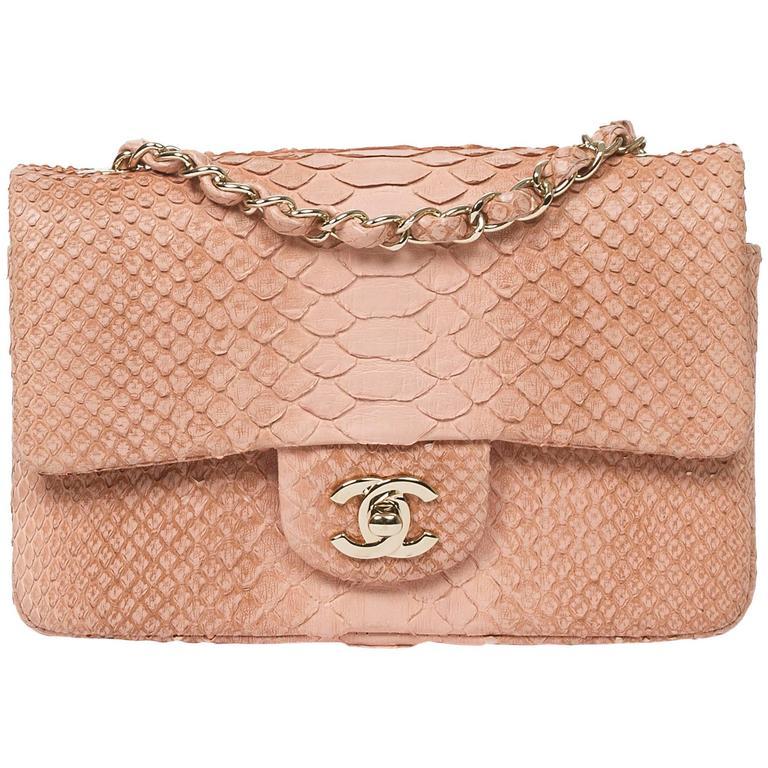 Mini Flap Bag Soft Pink Python For Sale