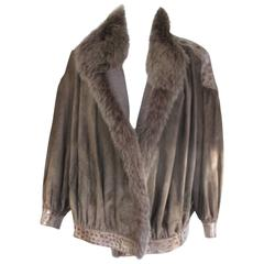 suede jacket with fox fur collar and trim snake print