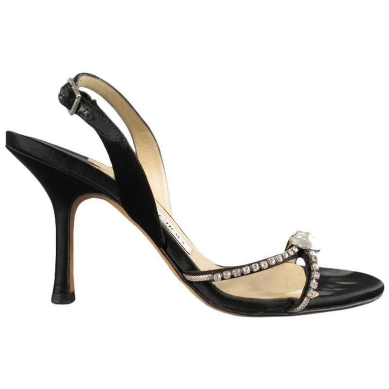 JIMMY CHOO Size 6 Black Silk Slingback Crystal Rhinestone Sandals