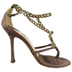 JIMMY CHOO 7.5 Taupe Brown LeatherGold Chain Gem Cross Strap Sandals