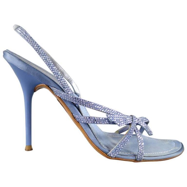 RENE CAOVILLA 10 Light Blue Swarovski Crystal Bow Strap Silk Slingback Sandals