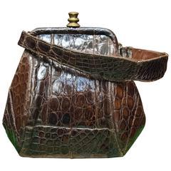 1940s Brown Alligator Beggar Bag