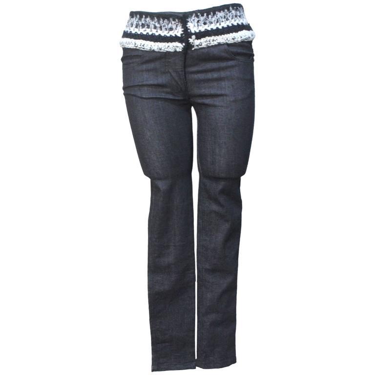 Chanel Denim Jean with Cashmere Knit Waist