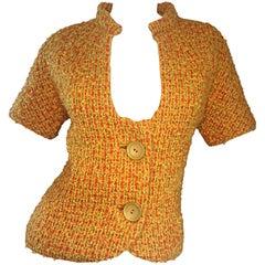 1960s B.H Wragge Burnt Orange Boucle Mod Short Sleeve Vintage 60s Retro Jacket