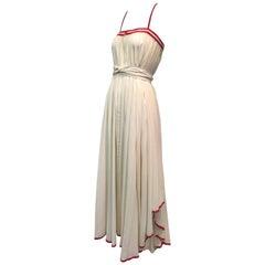1970s Ungaro Parallele Muslin Peasant-Style Maxi Dress w/ Red Braid Trim