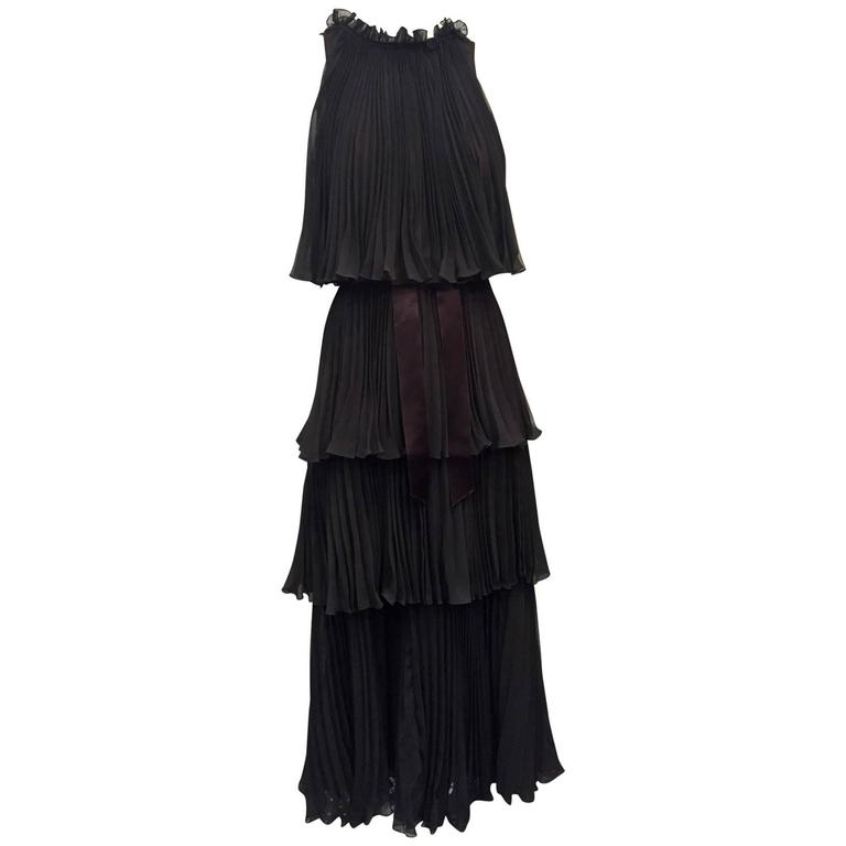 1970s Jean Varon Pleated and Tiered Crepe Chiffon Evening Gown 1
