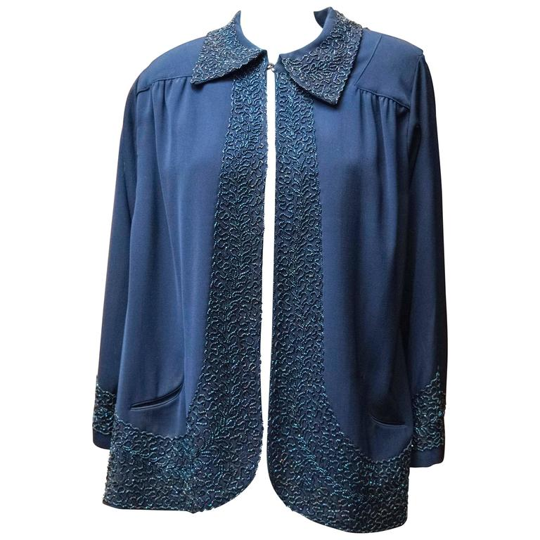 1940s Navy Blue Beaded Jacket For Sale