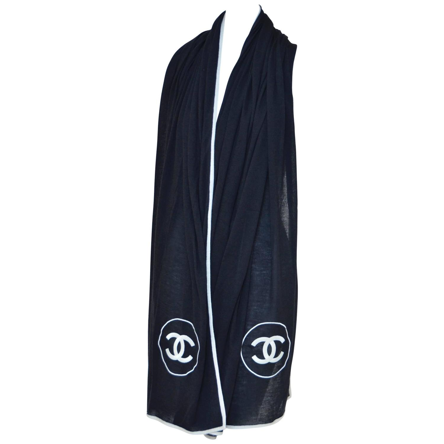 chanel silk large scarf with 2 embroidered cc new