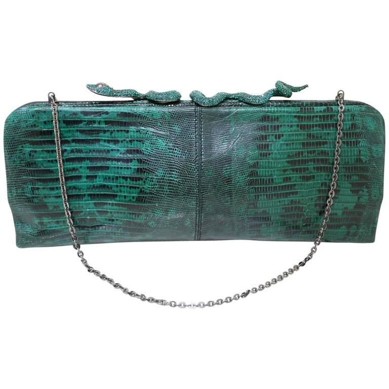 Valentino lizard skin evening bag/clutch with encrusted crystal snake closure 1