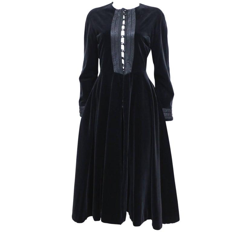 Jean Paul Gaultier black velvet and silk Russian inspired evening coat, c. 1980s For Sale