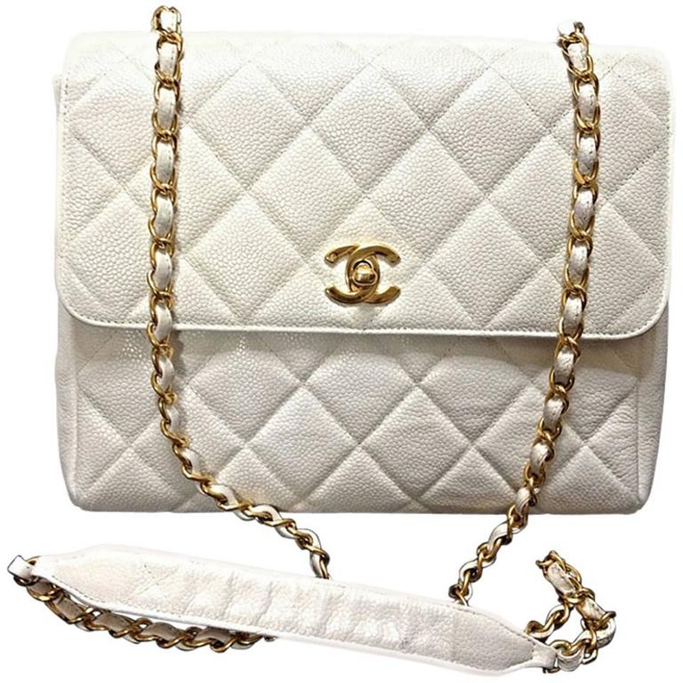 Vintage Chanel classic 2.55 white caviar leather square shape chain shoulder bag