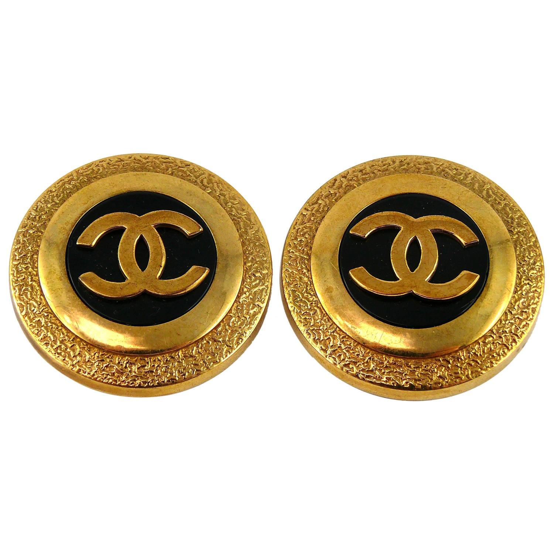chanel vintage cc logo earrings at 1stdibs