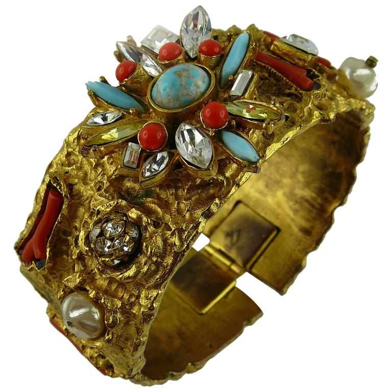 Christian Lacroix Vintage Opulent Jewelled Clamper Bracelet Turquoise Coral For Sale