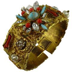 Christian Lacroix Vintage Opulent Jewelled Clamper Bracelet Turquoise Coral
