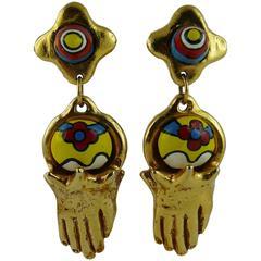 Alexis Lahellec Vintage Rare Hand Dangling Earrings