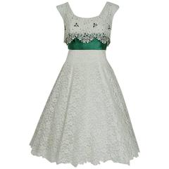 1950's Peggy Hunt White Lace & Green Satin Rhinestone Shelf-Bust Party Dress