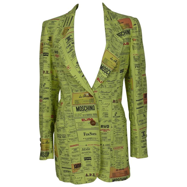 Moschino Vintage Printed Yellow Pages Jacket Museum Piece