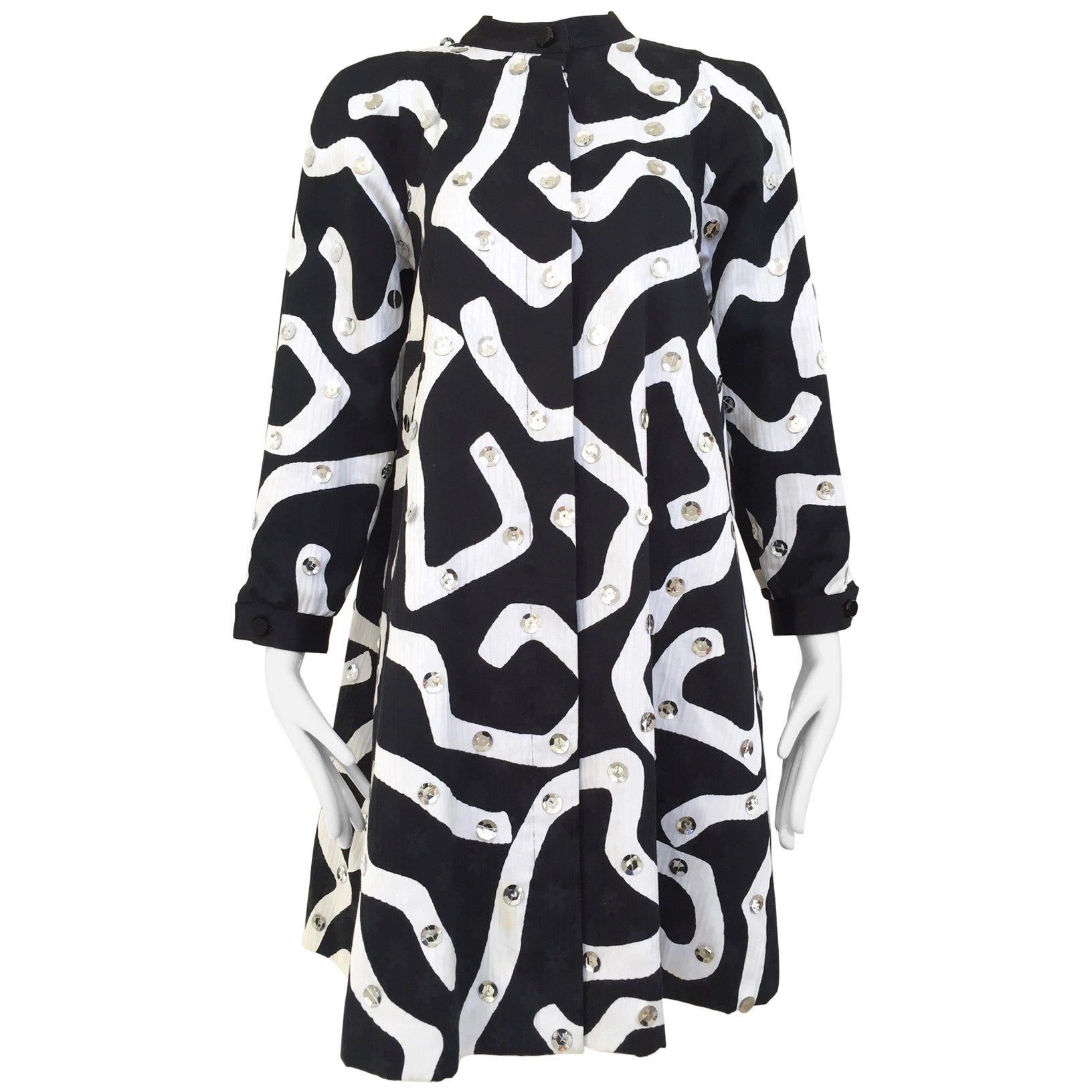 1980s Geoffrey Beene Blaack and White Abstract Print Cotton Dress
