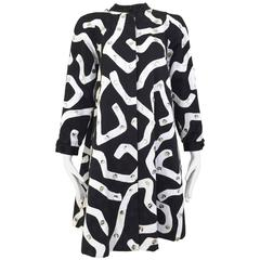 1980s Geoffrey Beene Blaack and White Abstract Print Cotton Coat