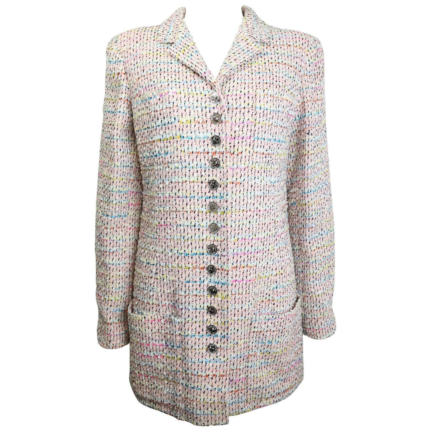 Chanel Pink Multi-Colour Tweed Jacket For Sale at 1stdibs