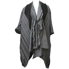 Issey Miyake Grey/Black Pleated Cap Style Jacket