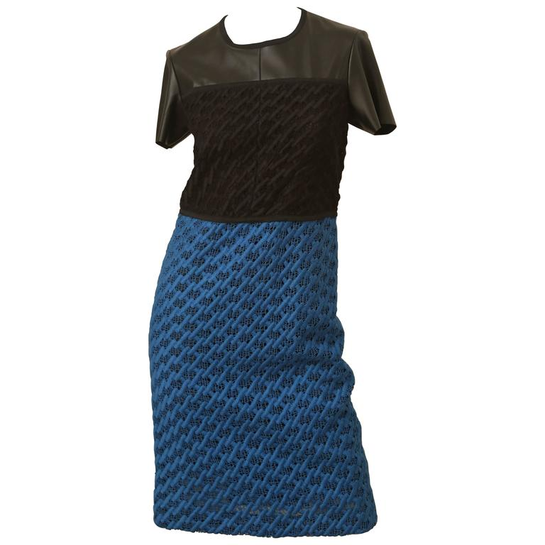 Derek Lam Black and Blue Short Sleeve Dress For Sale