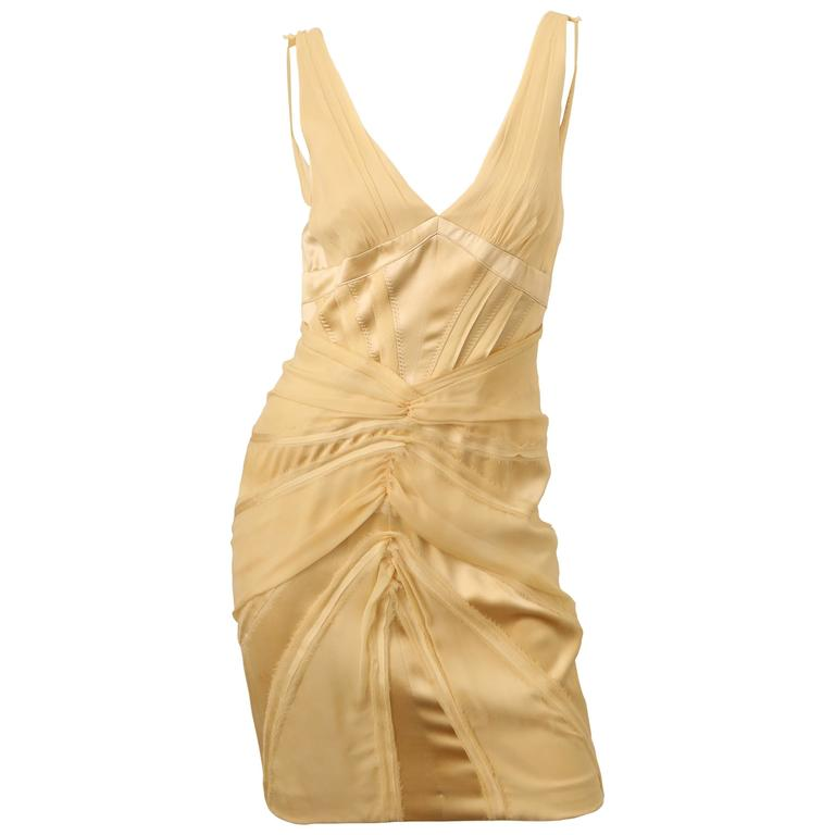 Zac Posen Cream Silk Dress W/ Frayed Edges
