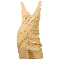 Zac Posen Cream Silk Dress W/ Frayed Edges