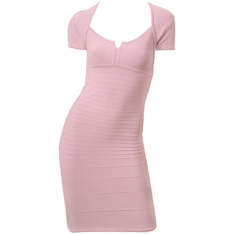 Herve Leger Lilac Short Sleeve Bandage Dress
