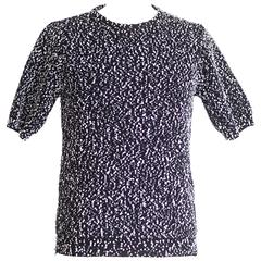 Chloe Top Indigo Navy with White Nubby Texture S