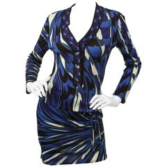 Emilio Pucci Blue/Multi Printed Dress With Cinched Drop Waist