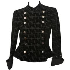 Giorgio Armani Black Patterned Jacket With Double Breasted Snaps