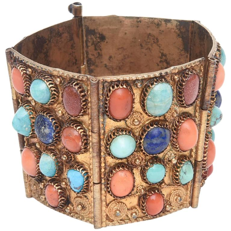 Stunning Egyptian Revival Lapis, Coral and Turquoise Vermeil Cuff Bracelet. For Sale