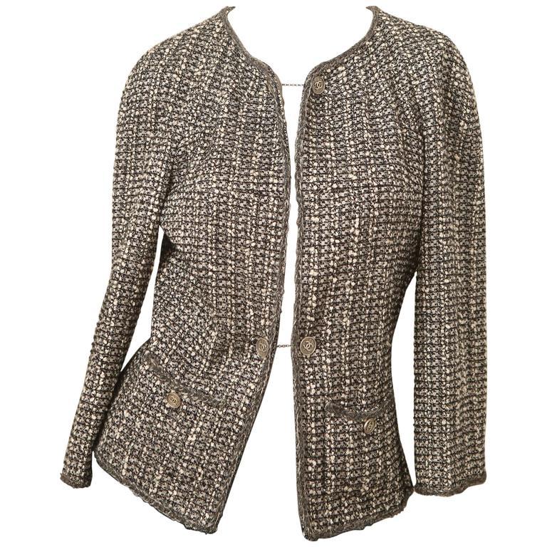 Chanel Grey/Silver Tweed Blazer  1