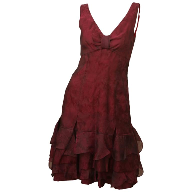 Carolina Herrera Red Textured Dress 1