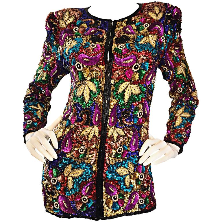 Spectacular Vintage Sequined and Beaded Silk Jacket All - Over Sequins For Sale