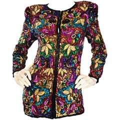Spectacular Vintage Sequined and Beaded Silk Jacket All - Over Sequins