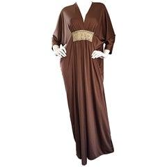 Vintage Lucie Ann of Beverly Hills Light Brown + Gold Grecian Caftan Dress