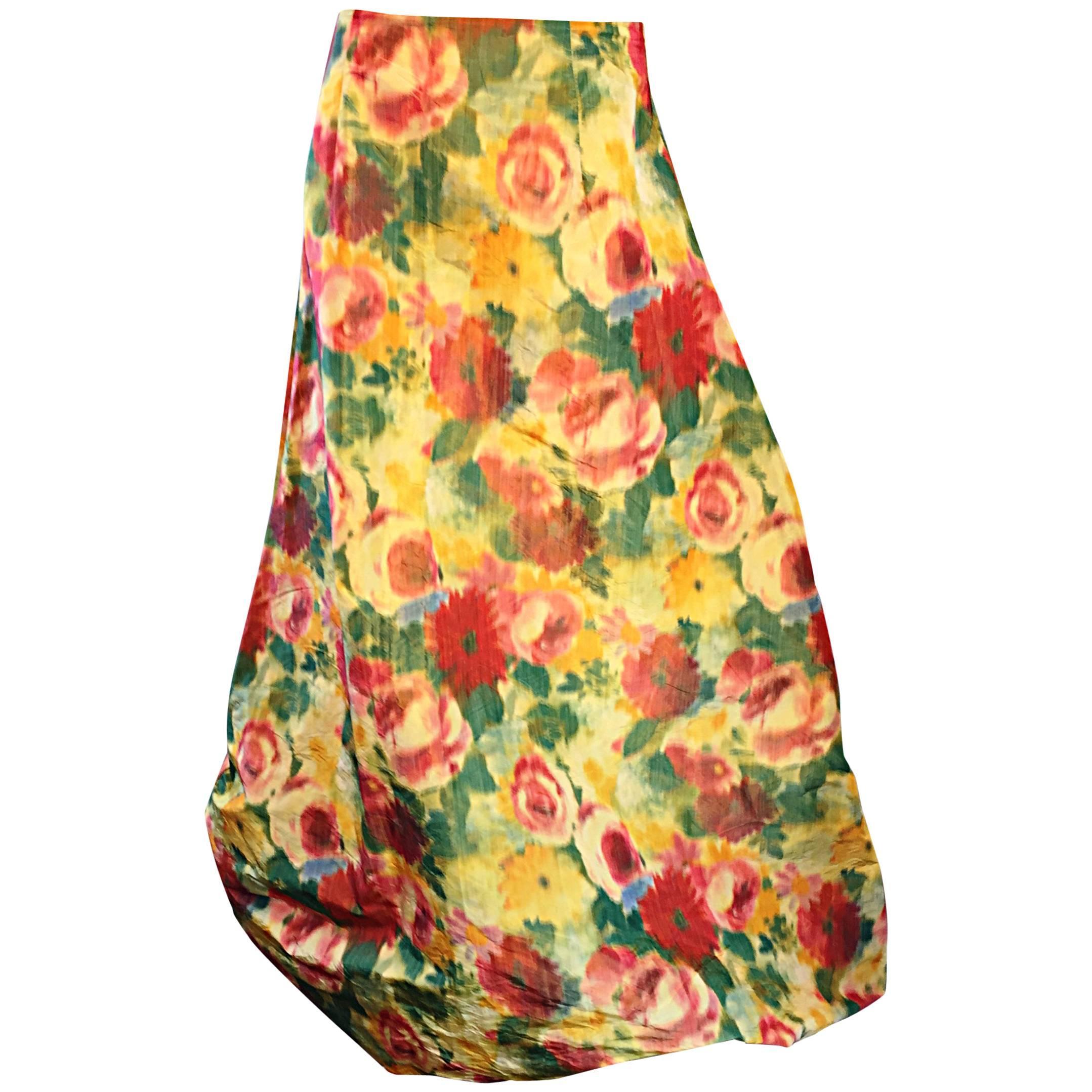 Beautiful Vintage Watercolor Floral Yellow Silk Taffeta Full Length Bubble Skirt