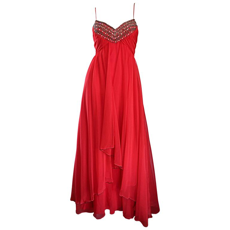 Exquisite 1970s Lipstick Red Chiffon Rhinestone Beaded Vintage 70s Goddess Gown