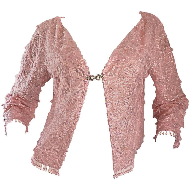 Beautiful 1950s Light Pink Silk Sequin Beaded Silk Rhinestone Jacket Cardigan