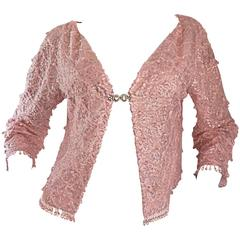 Beautiful 1950s Light Pink Silk Sequin Beaded Silk Rhinestone Jacket Cardigan