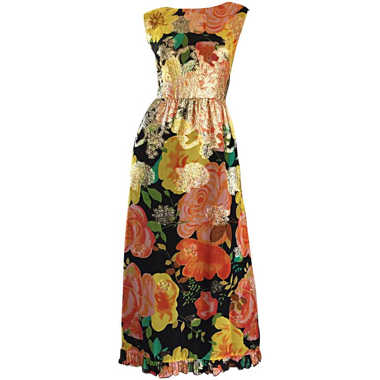 Amazing 1970s Colorful Chiffon Metallic Floral Ruffled Boho Vintage Maxi Dress For Sale