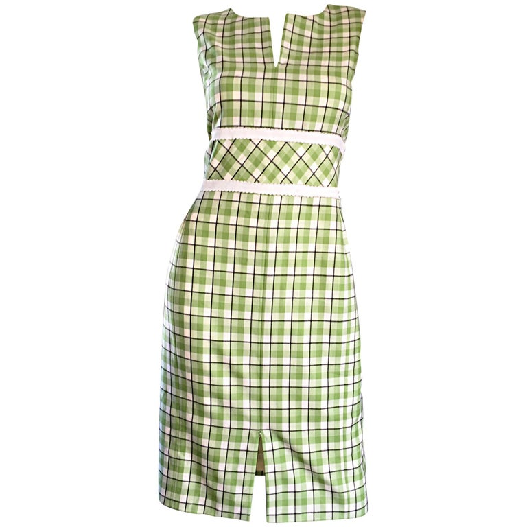 Oscar de La Renta Size 6 / 8 Saks 5th Ave Green + White Checkered Plaid Dress  For Sale