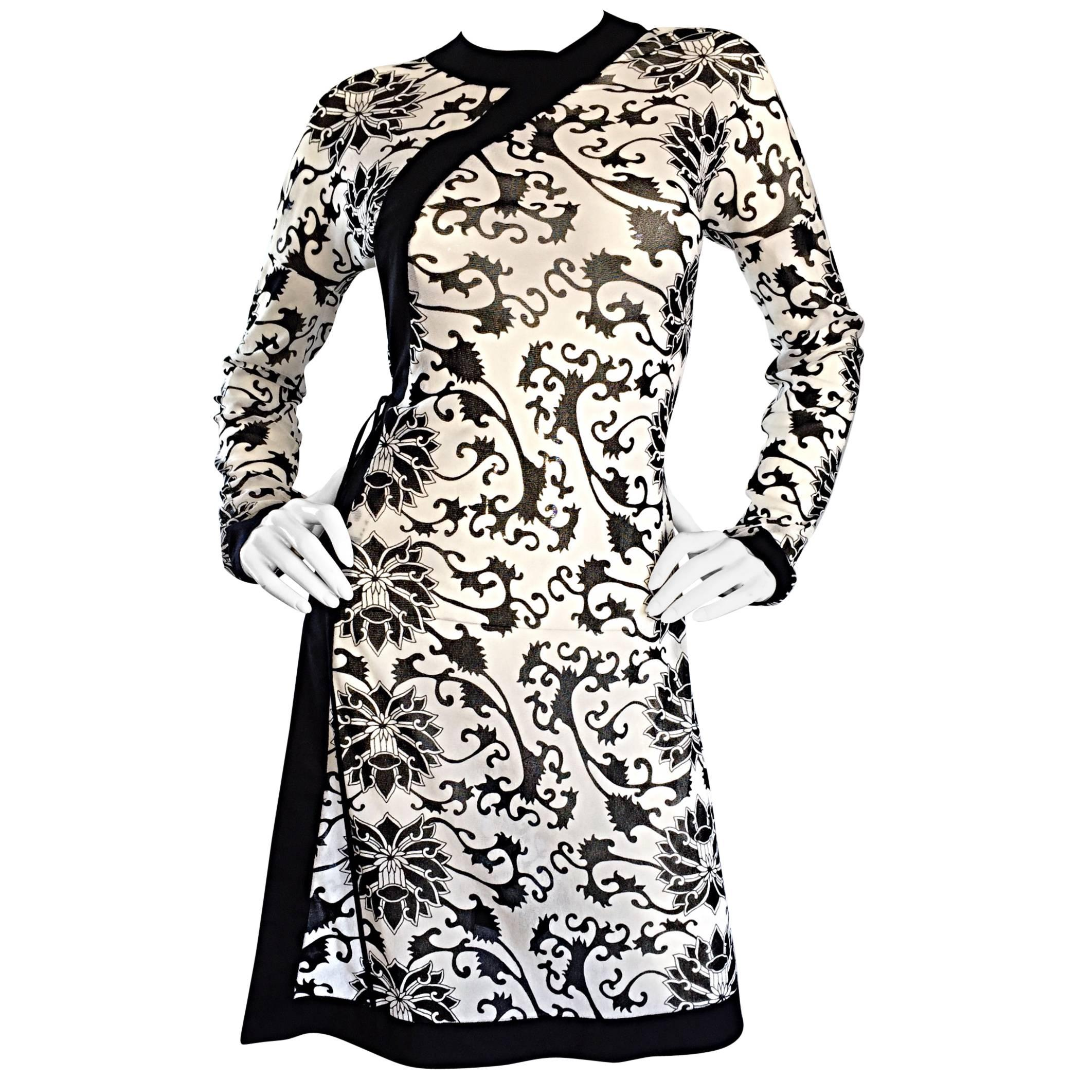 142e5204cdd Rare Vintage Vivienne Tam Black and White Tattoo Print Asian Inspired Wrap  Dress For Sale at 1stdibs