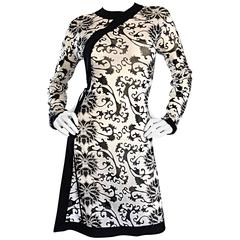 Rare Vintage Vivienne Tam Black and White Tattoo Print Asian Inspired Wrap Dress